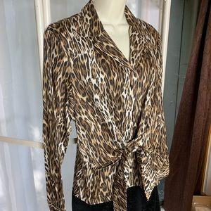 Leopard faux wrap blouse NWT Jones New York L